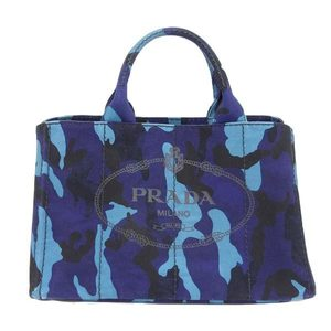 Genuine PRADA Prada Kanapa 2WAY camouflage tote bag blue system leather