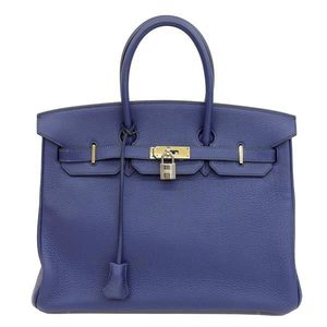 Genuine HERMES Hermes Birkin 35 Trillon Blue Safir Gold hardware □ H stamped Bag leather