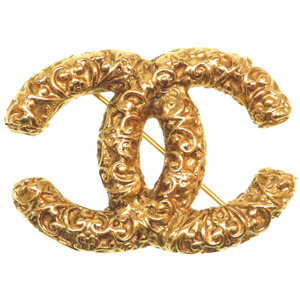 Chanel Cocomark vintage brooch gold 93A engraved accessories 0150 CHANEL