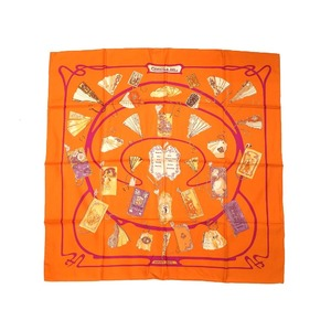 Hermes Carre 90 CARNETS DE BAL Ballroom 100% Silk Orange Scarf 0045 HERMES