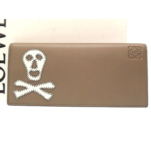 Loewe Skull Leather Folded Long Wallet Brown 0085 LOEWE Men