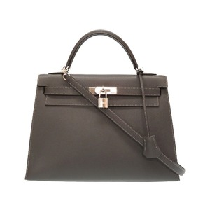 HERMES KELLY 32 Outer Stitching Vaux Epson Graphite Silver Hardware □ J Stamped New V Handbag Bag 0008
