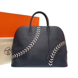 HERMES BORED 1923 Baseball 45 Evercolor Bled Malto C Engraved (made in 2018) Handbag Bag Blue 0006 HERMES Bleu De Marto