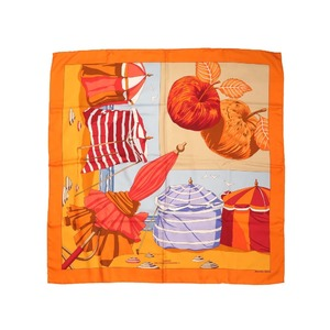 Hermes Calle 90 CHARMES DES PLAGES NORMANDES 2 Charms of the Normandy Coast 100% Silk Orange Scarf 0047 HERMES
