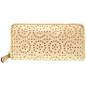 Coach Madison Lace Leather Round Zip Long Wallet Champagne Gold 0063 COACH