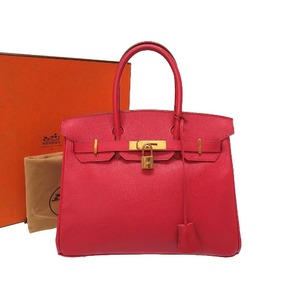 Hermes Birkin 30 Cushvel Rouge Viff Gold Hardware □ C stamped Handbag Bag Red 0027 HERMES