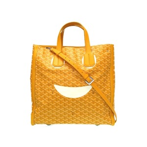 Goyard Margage Smile Voltaire 2WAY Shoulder Tote Bag PVC Coated Canvas Leather Yellow 0035 GOYARD