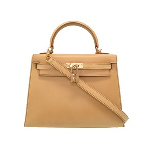 HERMES Kelly 25 Outer sewing box Nepal beige stitched gold metal fittings □ E stamped new V handbag bag brown 0038 HERMES