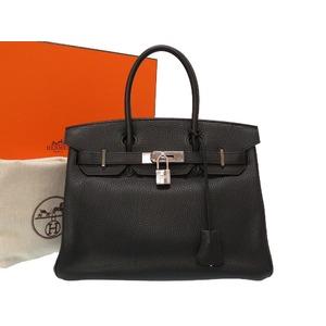 Hermes Birkin 30 Trillon Clemence Black Silver Hardware □ J engraved handbag bag black 0036 HERMES