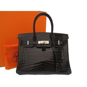 Hermes Birkin 30 Niloticus Black Silver Hardware □ J engraved Handbag Bag 0041 HERMES