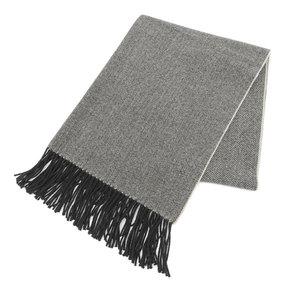 HERMES cashmere shawl herringbone stall beige black