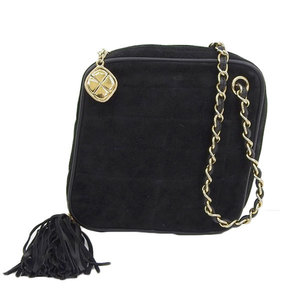 Chanel CHANEL Suede Diamond Chain Shoulder Bag with Tassels Vintage Black Gold Hardware 1st