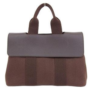 HERMES Valparaiso PM Handbag Canvas Leather Dark Brown