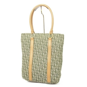 Christian Dior Trotter Canvas Tote D Bracket Made in Italy Green / Camel Vintage