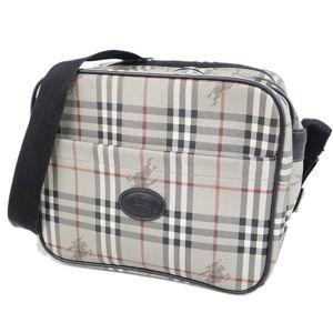 Burberry Burberrys Horse Ferry Check Shoulder Bag Ladies Gray / Black Mens Vintage