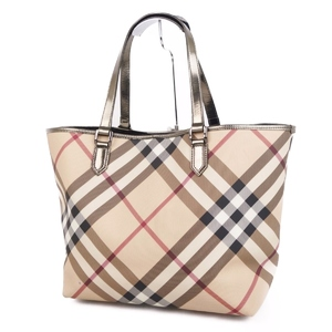 Burberry BURBERRY Check Tote Handbags Ladies PVC Patent Leather Beige / Brown Bags