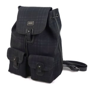 Burberry London BURBERRY LONDON Made in Italy Check Backpack Rucksack PVC Leather Back Dark Navy Women's Bag