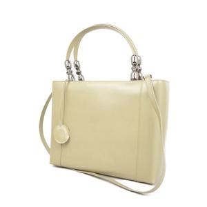 Christian Dior Made in Italy Ladies 2way Maris Pearl Handbag Shoulder Bag Enamel Beige バ ッ グ