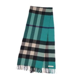 Burberry BURBERRY Made in Scotland 100% Cashmere Check Muffler Green / Beige Black Ladies Men Unisex