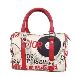 Christian Dior Pierce Star Chain D Bracket Mini Boston Bag Handbag White / Red Black HARDCORE Women's