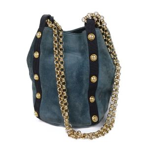 Salvatore Ferragamo Salvatore Suede Chain Shoulder Bag Made in Italy Blue / Gold Women's