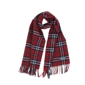 Burberry Burberrys UK Made 100% Cashmere Check Scarf Women's Mens Red England Vintage