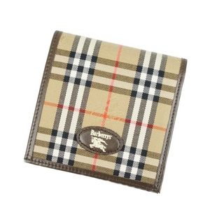 Burberry Burberrys Horse Ferry Check Folded Wallet Beige / Brown Vintage