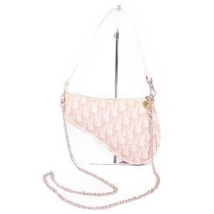 Christian Dior Trotter Saddle Bag Pouch Handbag PVC Enamel Spanish Pink / White Ladies