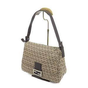 Fendi FENDI Made in Italy Women's Mamma bucket Canvas leather bag 鞄 Beige