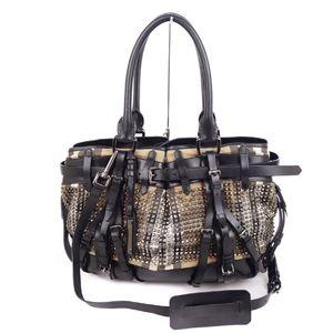 Burberry Prorsum BURBERRY PROSUM Women's Check Canvas Studs 2way Handbag Beige / Black Silver Bag Shoulder Made in Italy