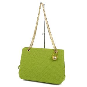 Chanel CHANEL V-stitched chevron chain shoulder bag green / gold France made ladies vintage