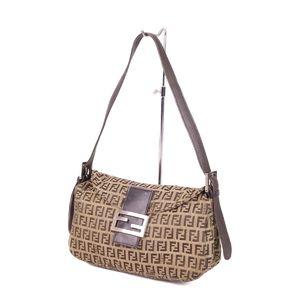 Fendi FENDI Zucca mamma bucket handbags women made in Italy canvas leather brown / beige semi shoulder bag ladies'