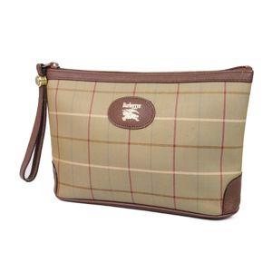 Burberry Burberrys Check Leather Clutch Bag Second Pouch Unisex Khaki / Brown Men's Women's Vintage