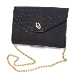 Christian Dior Made in France Ladies Chain Shoulder Bag Canvas Full Pattern Black Gold Vintage