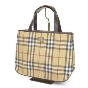 Burberry London BURBERRY LONDON Check PVC Leather Handbags Women's Italian Beige / Brown Bags