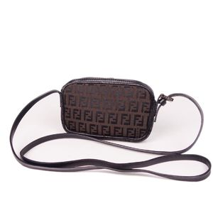 Fendi FENDI Italian Ladies Zucca Pattern Shoulder Pouch Bag Canvas Leather Brown 鞄