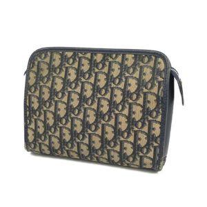 Christian Dior Trotter Clutch Bag Second Made in France Navy / Camel Men's Women's Vintage