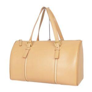 Burberry BURBERRY back check leather Boston bag Women's camel-based women's
