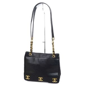 CHANEL triple cocomark chain tote bag shoulder caviar skin black / gold women's made in Italy vintage