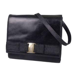 Salvatore Ferragamo Vala Leather Shoulder Bag Made in Italy Black / Gold Women's