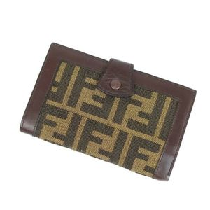 FENDI Zucca Pattern Folded Wallet Mini Made in Italy Ladies Compact Vintage Brown Based