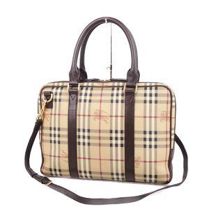 Burberry Prorsum BURBERRY PROSUM Men's Business Bag Horse Ferry Check Leather Beige / Brown Shoulder Briefcase