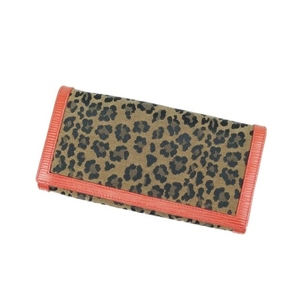 Fendi FENDI Folded Purse Leopard Print Leather Canvas Made in Italy Camel / Orange Long Wallet Ladies Vintage