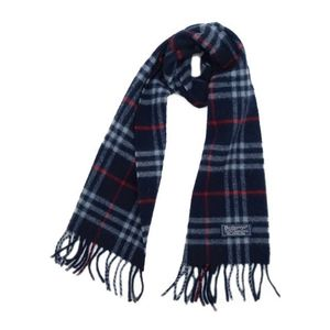 Burberry Burberrys Check Scarf UK Wool Unisex England Made Navy Vintage