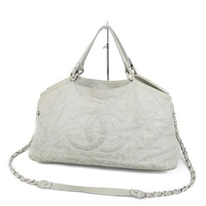 CHANEL CHAKOKOKO Mark Wild Stitch 2way Shoulder Bag Tote Gray Italian Ladies