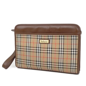 Burberry Burberrys Mens Horse Ferry Check Clutch Bag Second Beige Ladies 鞄 Vintage