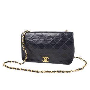 Chanel CHANEL Cocomark Turnlock Chain Shoulder Bag Matasse Black / Gold Women's France Vintage