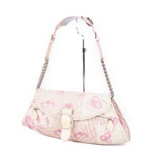Christian Dior Trotter Flower Chain Semi-Shoulder Bag Handbag D Bracket White / Pink Ladies
