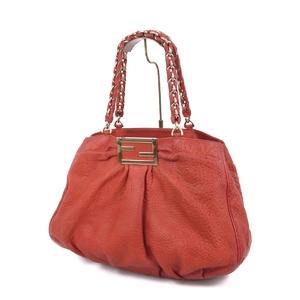 Fendi FENDI Italian Ladies Chain Leather Shoulder Bag Genuine 鞄 Red
