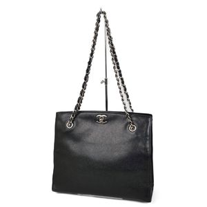 CHANEL Turnlock Coco Mark Chain Shoulder Bag Tote Caviar Skin Black / Silver Ladies Made in Italy
